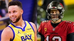 Stephen Curry (Warriors) a la izquierda, y Tom Brady (Tampa Bay...