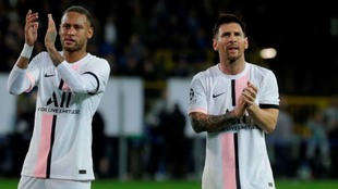 Neymar y Messi, tras el Brujas-PSG