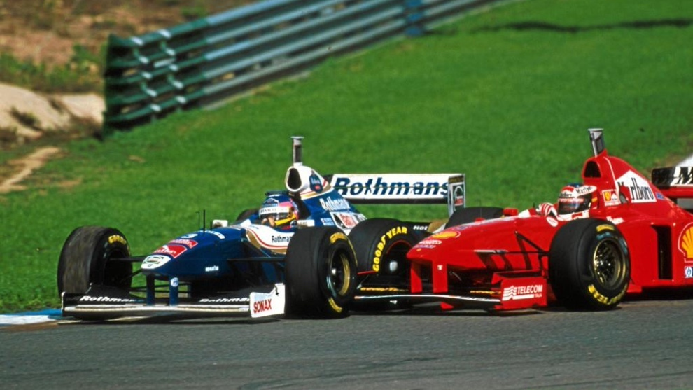Villeneuve y Schumacher en Jerez 1997