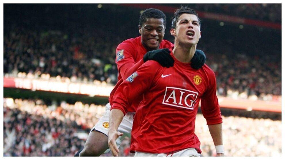 Evra y Cristiano Ronaldo con el Manchester United