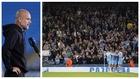 Una montaje con una imagen de Guardiola y otra de aficionados en el...