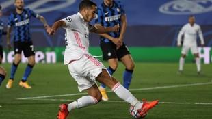 Lucas Vázquez, con el Real Madrid ante el Inter.