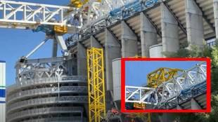 El Bernabéu acelera: retiran la cuarta plataforma de la Castellana