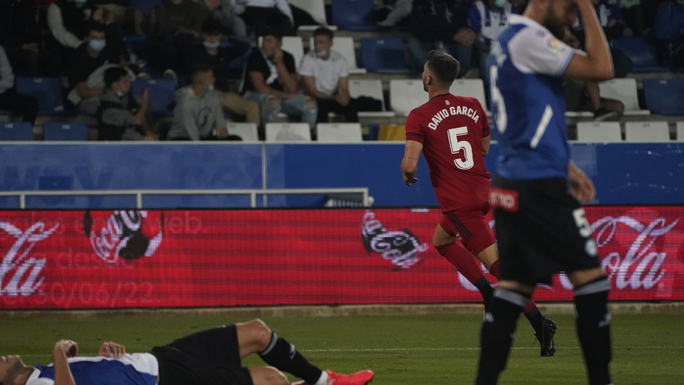 David García celebra el primer gol de Osasuna