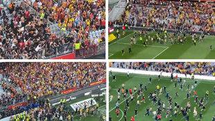 La secuencia completa de la bochornosa y lamentable pelea que suspendió el Lens-Lille