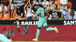 Vinicius celebrates in Real Madrid's win over Valencia