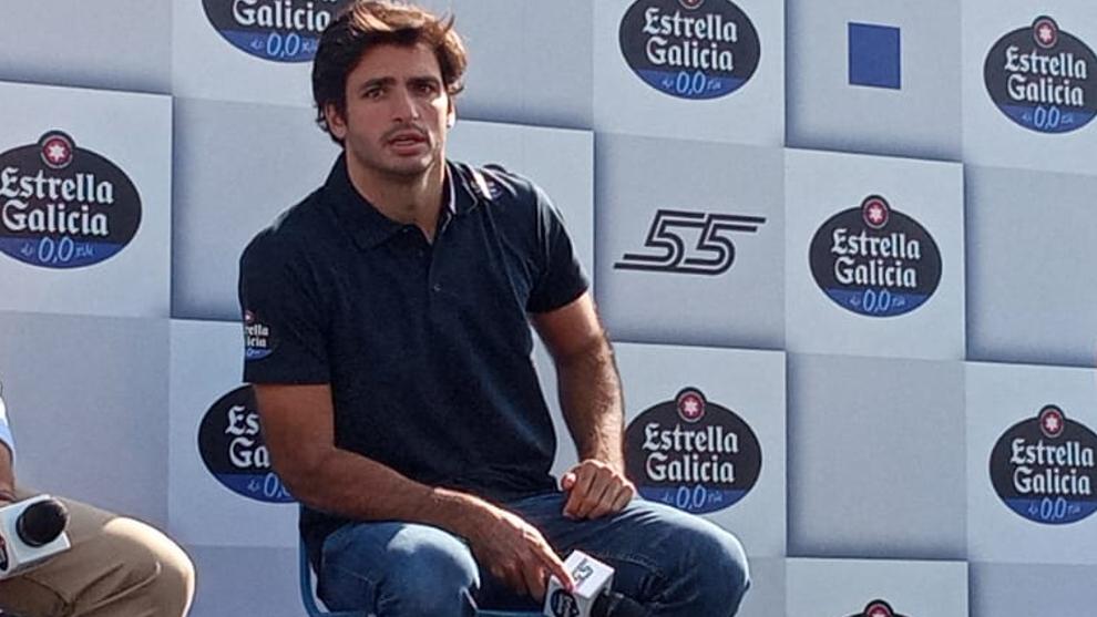 Carlos Sainz, durante el acto de Estrella Galicia 0,0.