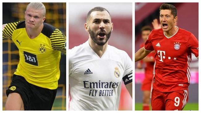 Lideran la tabla Benzema, Haaland y Lewandowski.