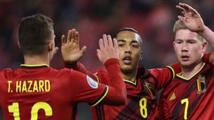 Jugadores de la Selección de Fútbol de Bélgica celebrando un gol.