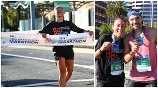 Judith Corachán y su marido, tras correr el maratón de San...