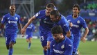 Los jugadores del Getafe celebran el primer gol del partido.