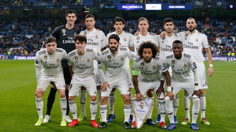 Última alineación del Real Madrid sin Kroos, Modric y Casemiro, ante el CSKA el 12 de diciembre de 2018.