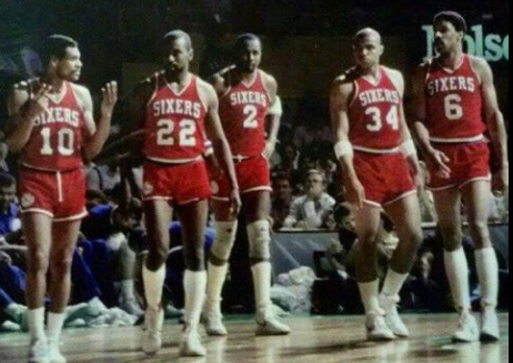 Mou Cheeks, Andrew Toney, Moses Barkley y Julius Erving.