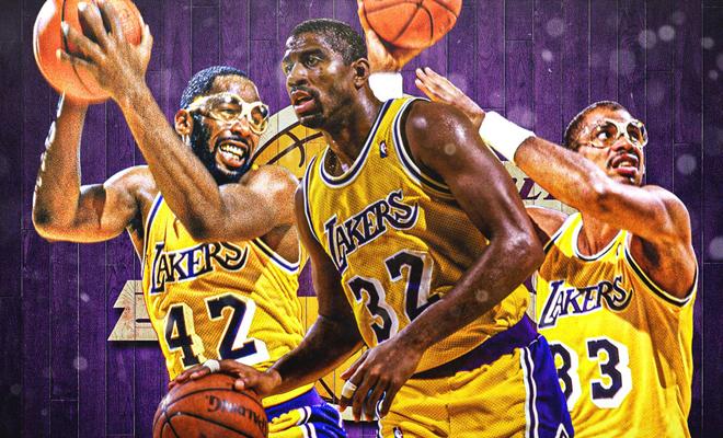 James Worthy, Magic Johnson y Kareem Abdul-Jabbar, emblemas de los Lakers de los 80.