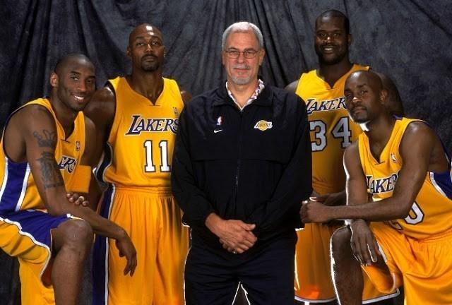 Kobe Bryant, Karl Malone, Phil Jackson, Shaquille O'Neal y Gary Payton.
