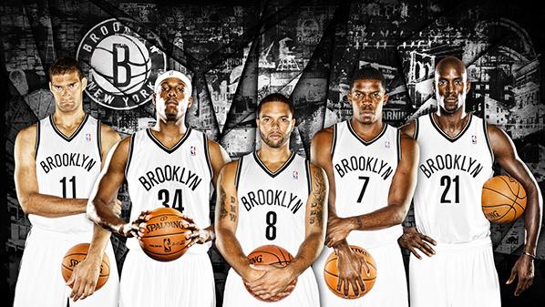 Brook Lopez, Paul Pierce, Deron Williams, Joe Johnson y Kevin Garnett.