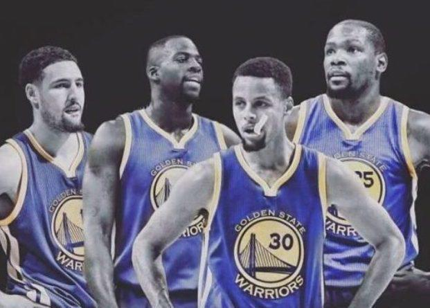 Klay Thompson, Draymond Green, Stephen Curry y Kevin Durant.