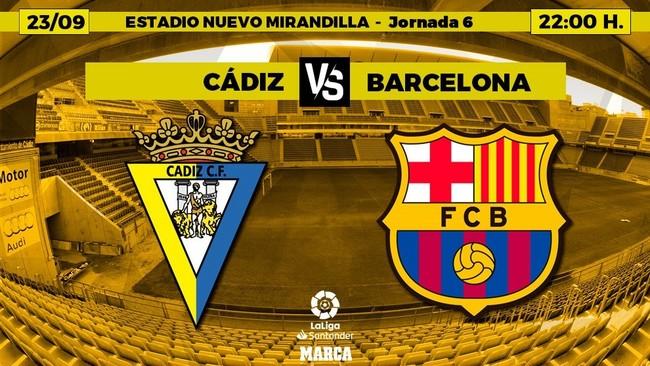 EL CÁDIZ RECIBE AL BARCELONA A LAS 22.00 HORAS