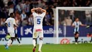 Laguardia lamentándose durante el partido ante el Espanyol.