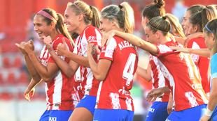 Jugadoras del Atlético de Madrid durante un partido de liga en...