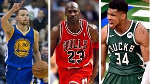 Stephen Curry, Michael Jordan y Giannis Antetokounmpo.