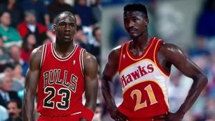 Michael Jordan (Bulls) and Dominique Wilkins (Hawks).