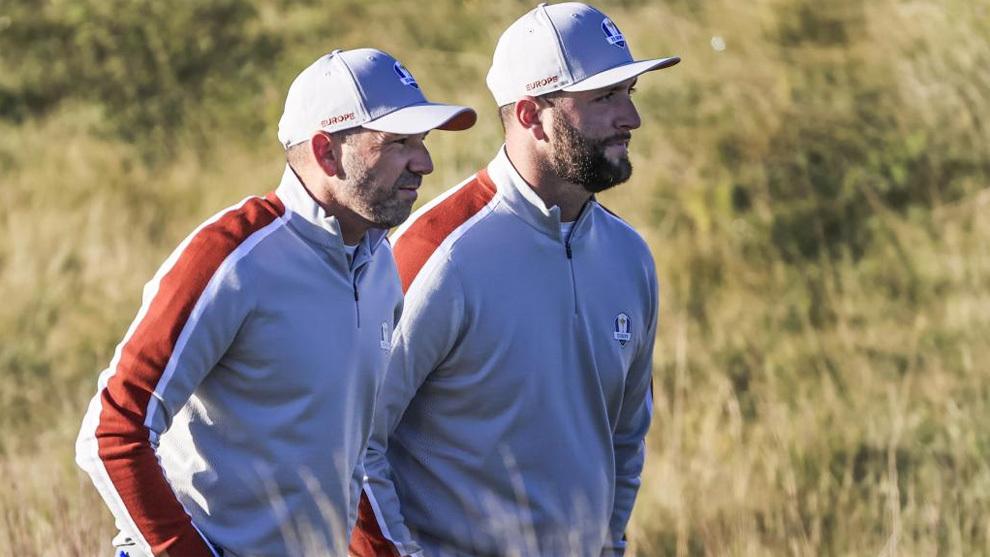 García y Rahm, en un momento de la Ryder Cup 2020
