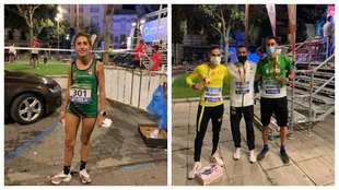 Claudia Estévez y los tres medallistas masculinos