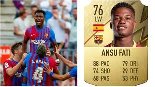 Ansu Fati celebrando un gol y su carta de FIFA 22