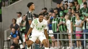 Austin FC forward Orrin McKinze Gaines II reacts after scoring his...