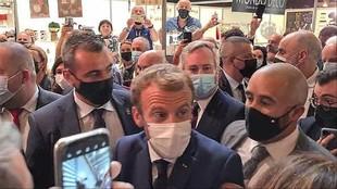 Emmanuel Macron durante su visita al Salón Internacional de la...