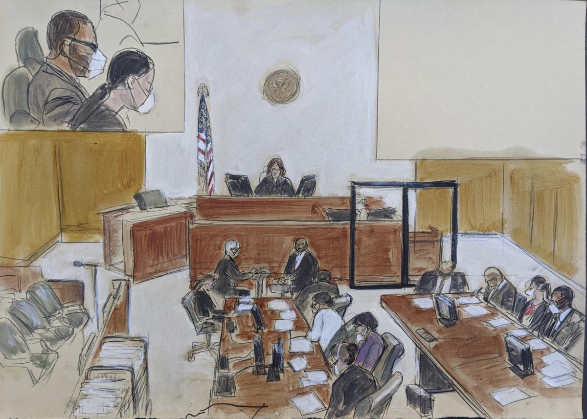 Ilustración de la sala durante el juicio