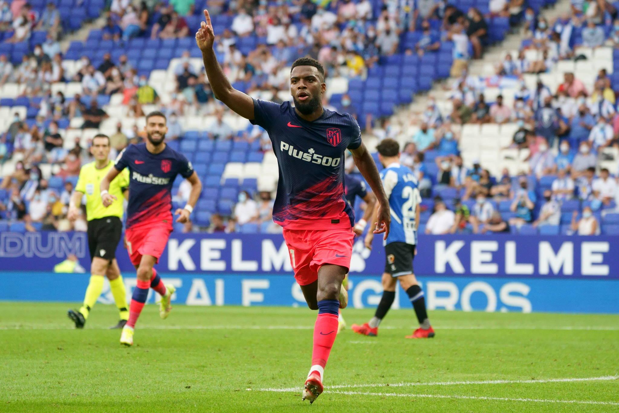 Lemar celebra su gol ante el Espanyol