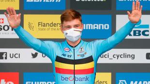 Remco Evenepoel, con el maillot de Bélgica