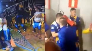 Incidentes en el partido de vuelta entre Boca y Atlético Mineiro.