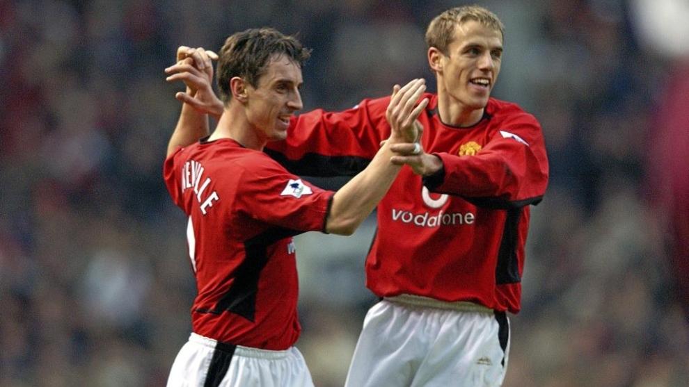 Los hermanos Neville en el Manchester United.