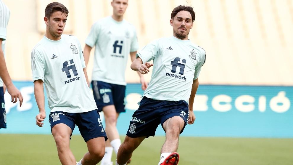 Sergio Carreira y Rodri Sánchez en el entrenamiento de ayer.