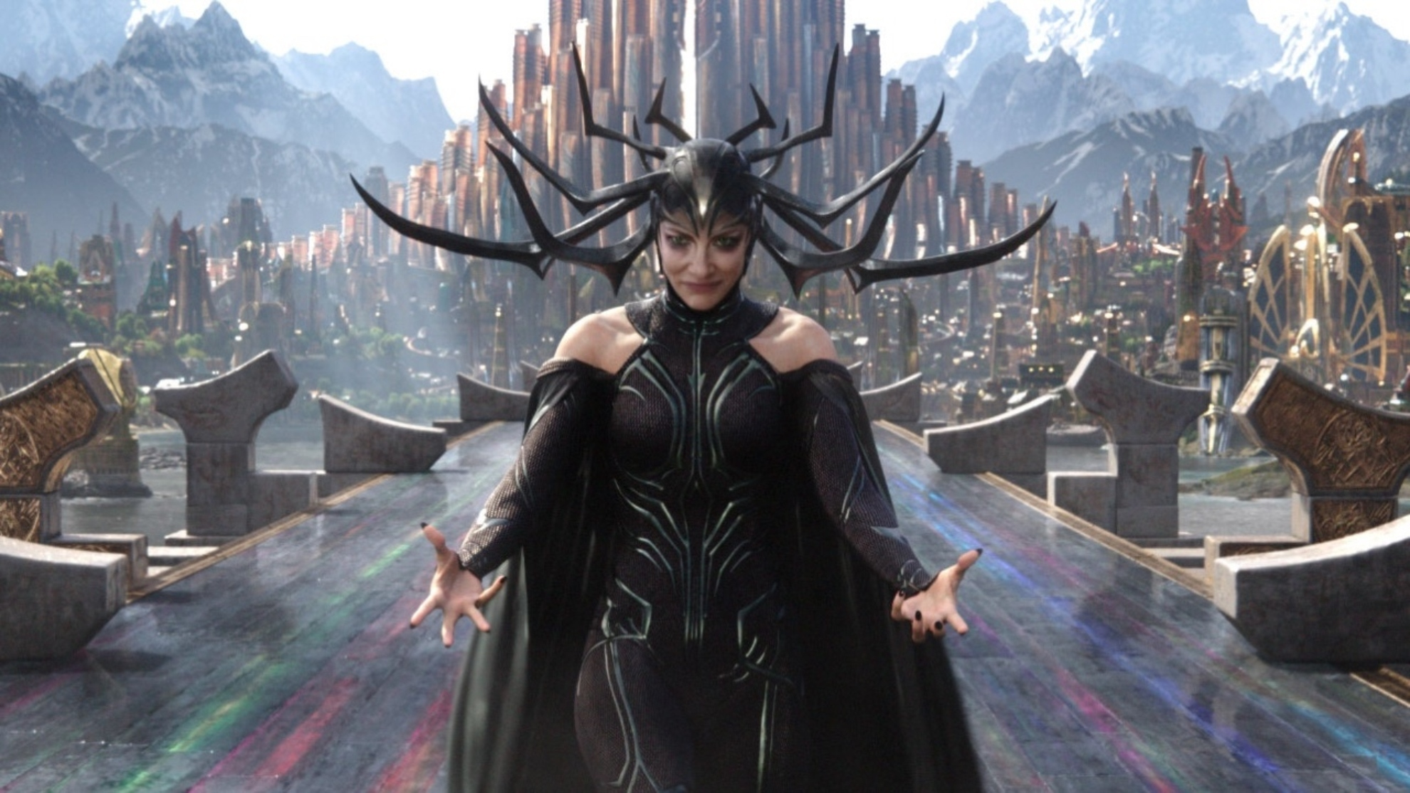 Cate Blanchett, in the role of Hela.