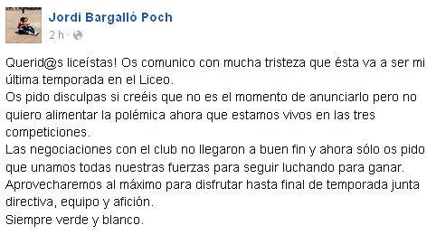 Publicación de J.Bargalló en su muro de facebook