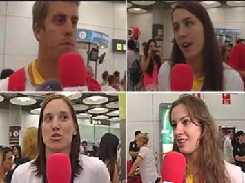 La delegación espańola llega a Barajas