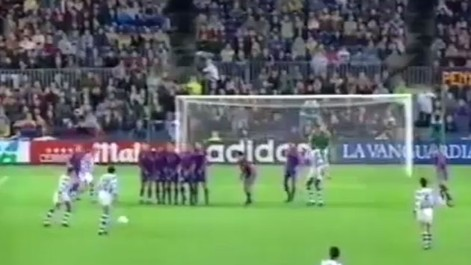 Eusebio marcó de falta con el Valladolid en el Camp Nou