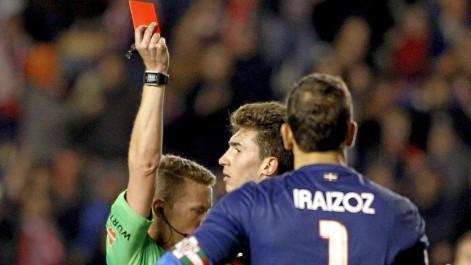 La �nica tarjeta del Athletic en Vallecas... �fue la roja directa a Laporte!