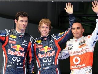 Webber, Vettel y Hamilton