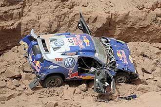 El coche de Carlos Sainz, tras el accidente