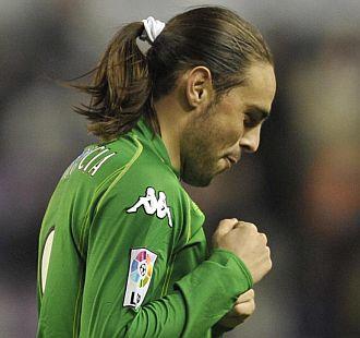 Sergio García celebra un gol ante el Valladolid en el Nuevo Zorrilla.