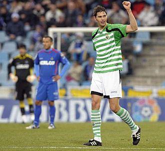 Zigic celebra el gol de la victoria en Getafe