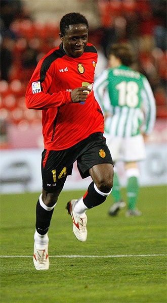 Keita, delantero del Mallorca, tras marcar su tanto ante el Betis en la Copa del Rey