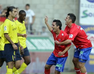 Mario celebra el gol que provoc� la �nica derrota del Bar�a en esta Liga BBVA