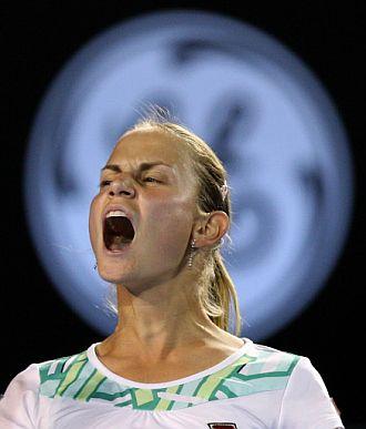 Jelena Dokic celebra una victoria en el Open de Australia 2009.