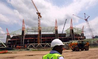 Uno de los estadios del Mundial, todav�a en construcci�n.